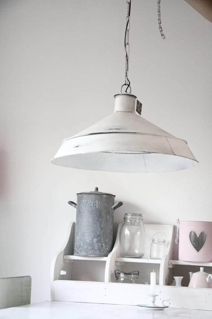 Brocante industriele lamp grijs groot