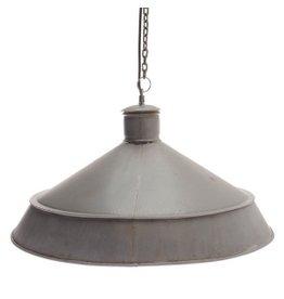 Brocante industriele lamp, grijs