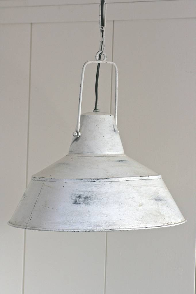 Brocante industrieele lamp wit klein