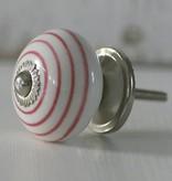 Harveys Knop bol, wit met roze strepen