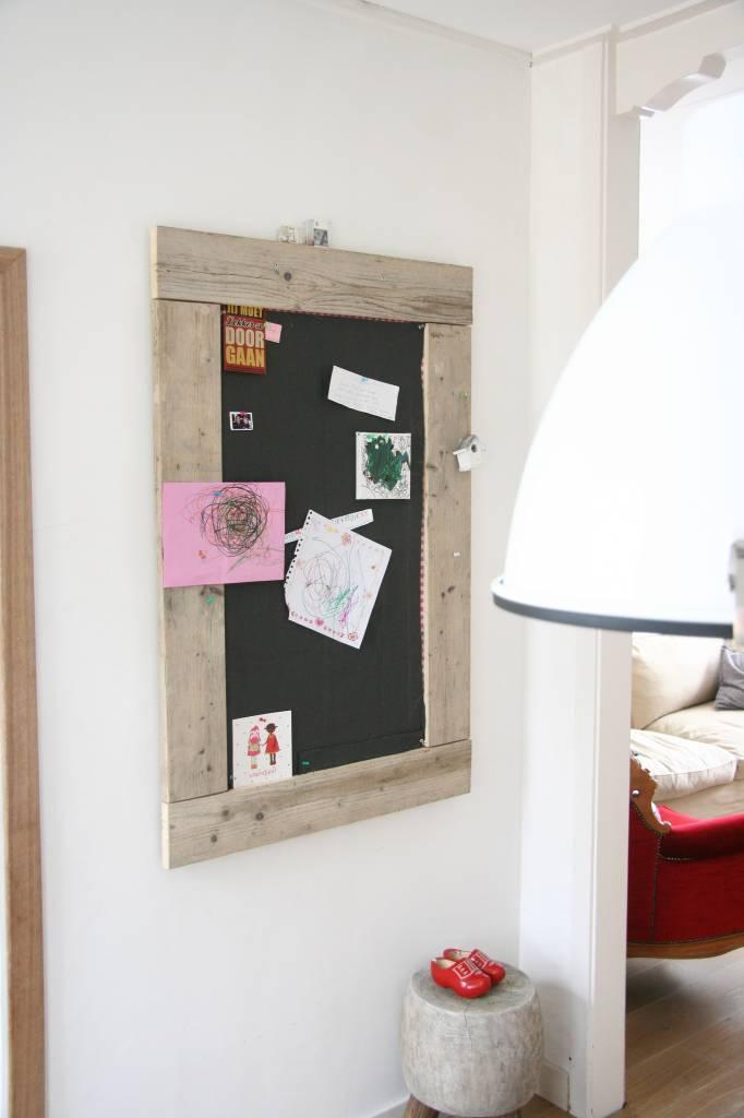 Prikbord steigerhout groot (L) 90x130cm, canvas