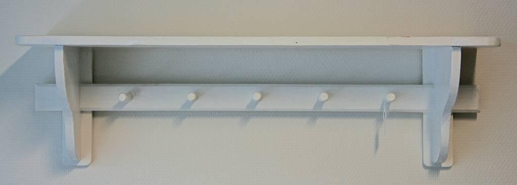Consolekapstok 5 Haken Met 1 Plank 20x80x23cm Wit Label123
