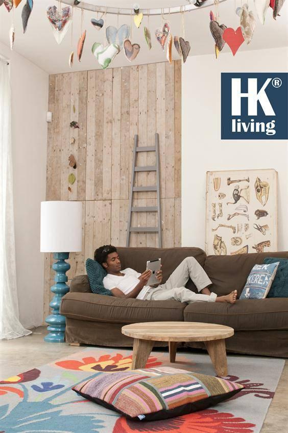 HK Living Ladder decoratie hout 217x56-33cm, grijs - label123