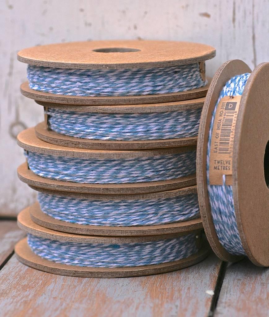 East of India slagerstouw blauw/wit, 12meter