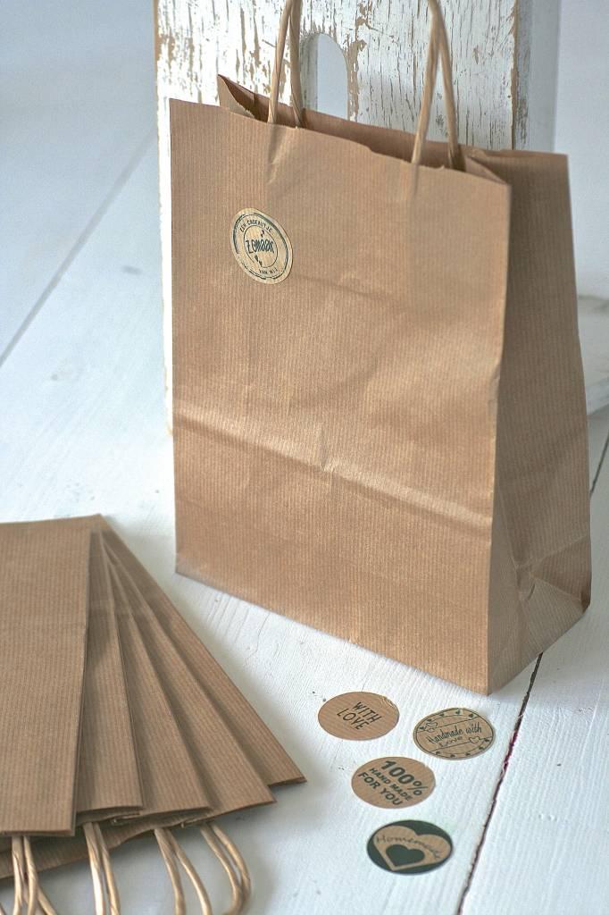 Luxe papieren draagtasjes 18x8cm bruin, 5 stuks