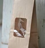 Papieren theezakje met venster 6x8x20cm, bruin