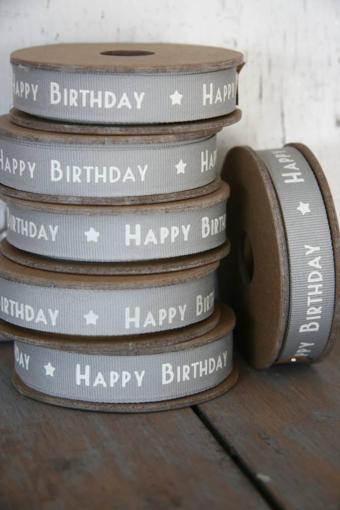 East of India Lint Happy Birthday grijs, 3 meter