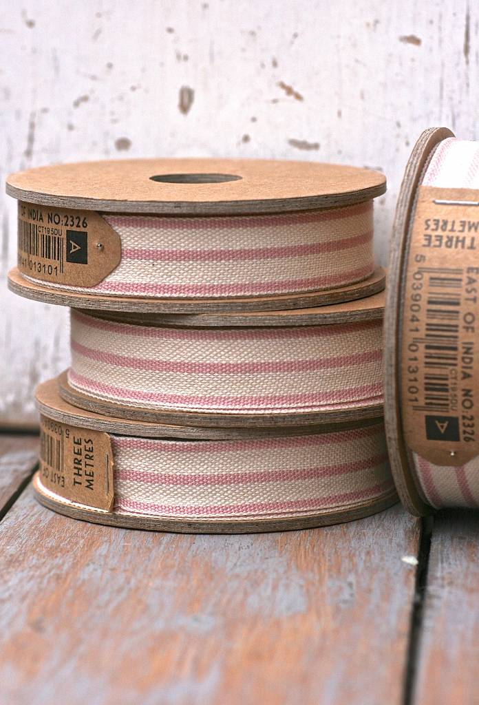 East of India Lint streep roze-wit, 3 meter