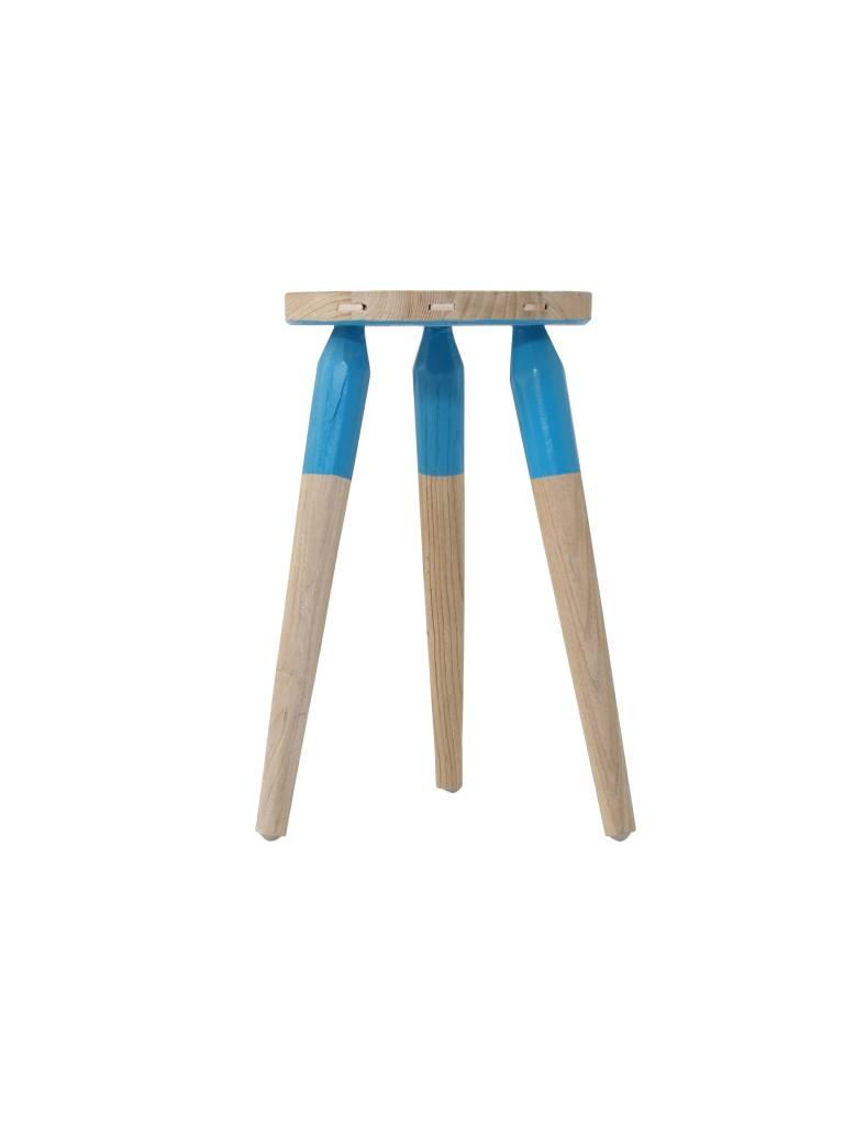 Storebror Stool Pall Rustik kruk 3-poot, blauwe dip
