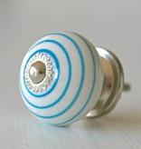Harveys Knop bol, wit met blauwe strepen