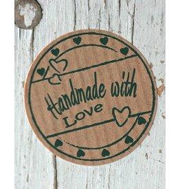 Ronde kraft sticker Handmade with love (hartjes), 10st
