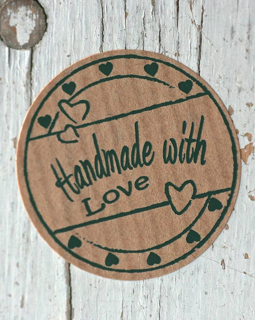 Ronde kraft sticker Handmade with love, 10st