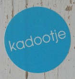 Ronde sticker 'kadootje' blauw, 10st