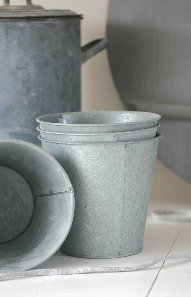 Metalen potjes Ø11-16,5 x 15,5cm, zink