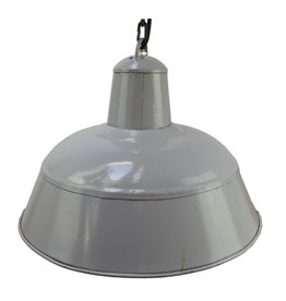 Brocante industriële hanglamp emaille grijs