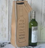 Wijntasje giftbag karton bruin, 12x37cm
