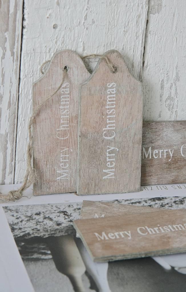 Houten label Merry Christmas