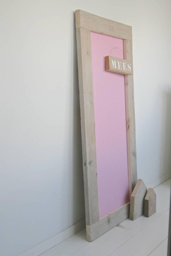 Prikbord steigerhout 60x130cm, roze