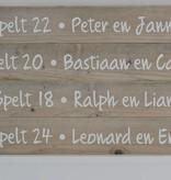 Steigerhouten tekstbord met tekst naar keuze
