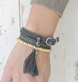 Zusss Armband Gesp leer 1x45cm, off-black