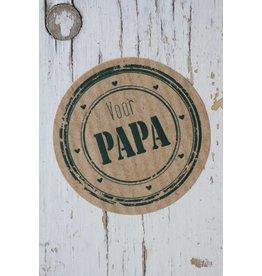 Ronde craft sticker voor papa, 5st