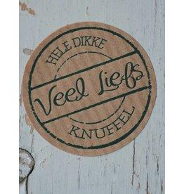 Ronde craft sticker Veel liefs, 10st