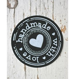 Ronde sticker Hand made with love, zwart, 10st
