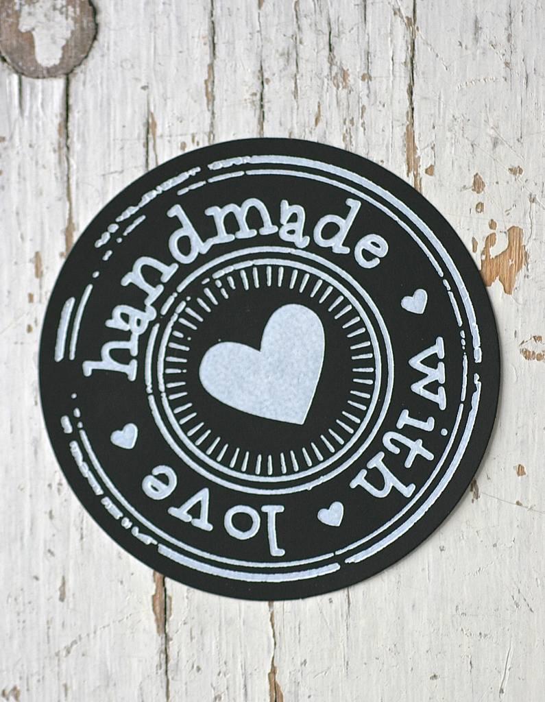 Ronde sticker hand made with love zwart, 10st
