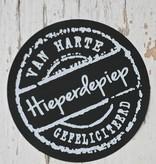 Ronde craft sticker voor hieperdepiep zwart, 10st