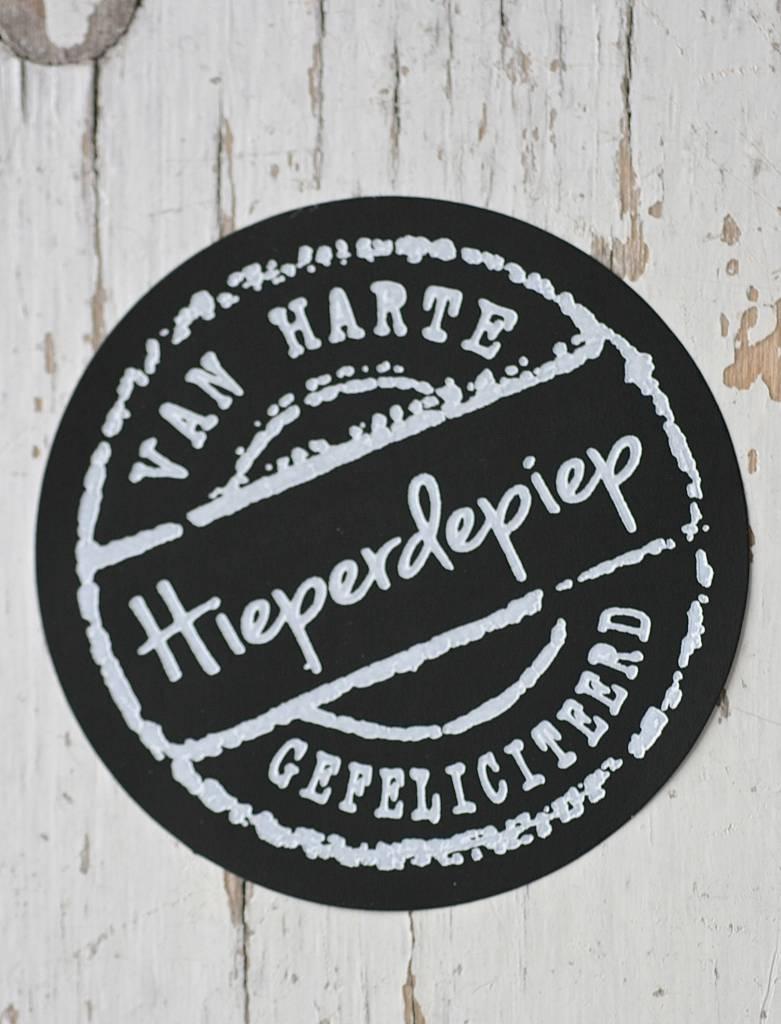 Ronde craft sticker voor hieperdepiep zwart, 10st   label123