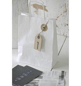 Luxe papieren draagtasjes wit, 5 stuks