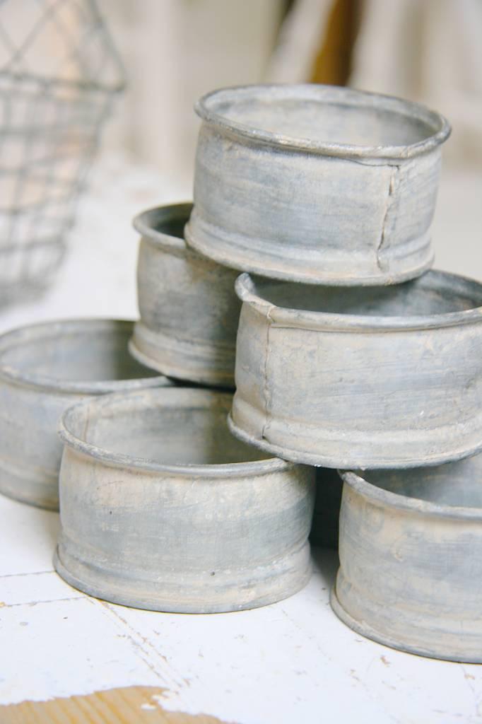 Metalen potjes Ø8 x 4cm, oud zink