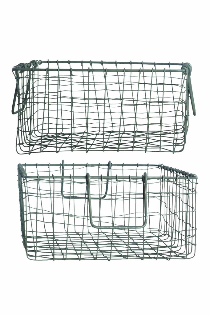 House Doctor Opbergmand 'Storage Wire', 35x30x16cm, zink