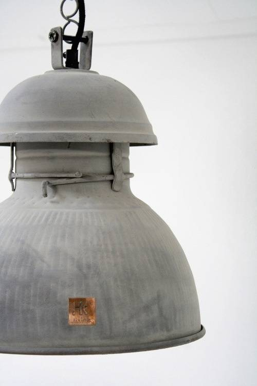 HK Living Industriële warehouse lamp XL zink