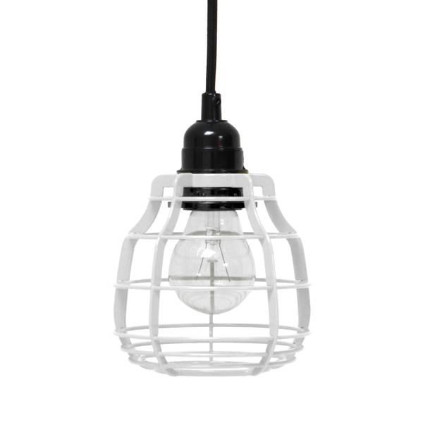 HK Living Lab lamp hanglamp wit met plafondkapje