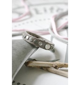 Enkele leren Armband met studs, grijs