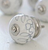 Harveys Knop bol, wit met bloem grijs