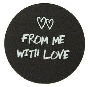 Ronde sticker from me with love zwart, 10st