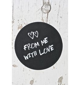 Ronde sticker from me with love, zwart, 10st