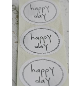 Ronde sticker happy day, wit, 10st