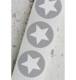 Ronde sticker met ster grijs, 10st