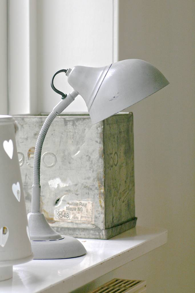 Vintage bureaulamp, 18x18x45cm grijs