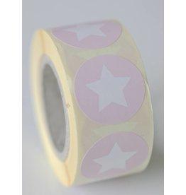 Ronde sticker met ster (baby)roze, 10st