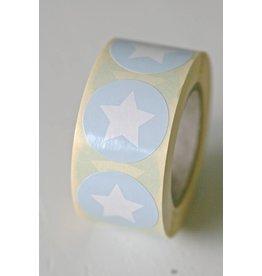 Ronde sticker ster (baby)blauw, 10st