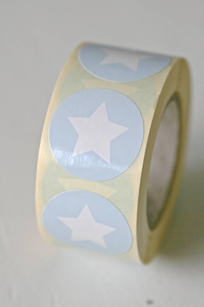 Ronde sticker ster blauw, 10st - Copy