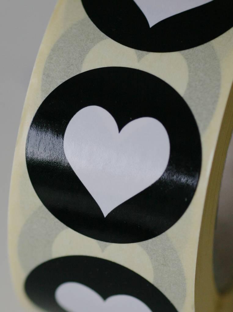 Ronde sticker hartje zwart, 10st