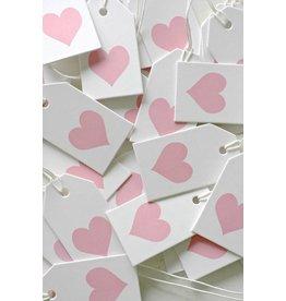 Label karton wit met hartje roze