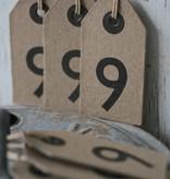 East of India Label karton 4x7,5cm cijfers 1 - 9