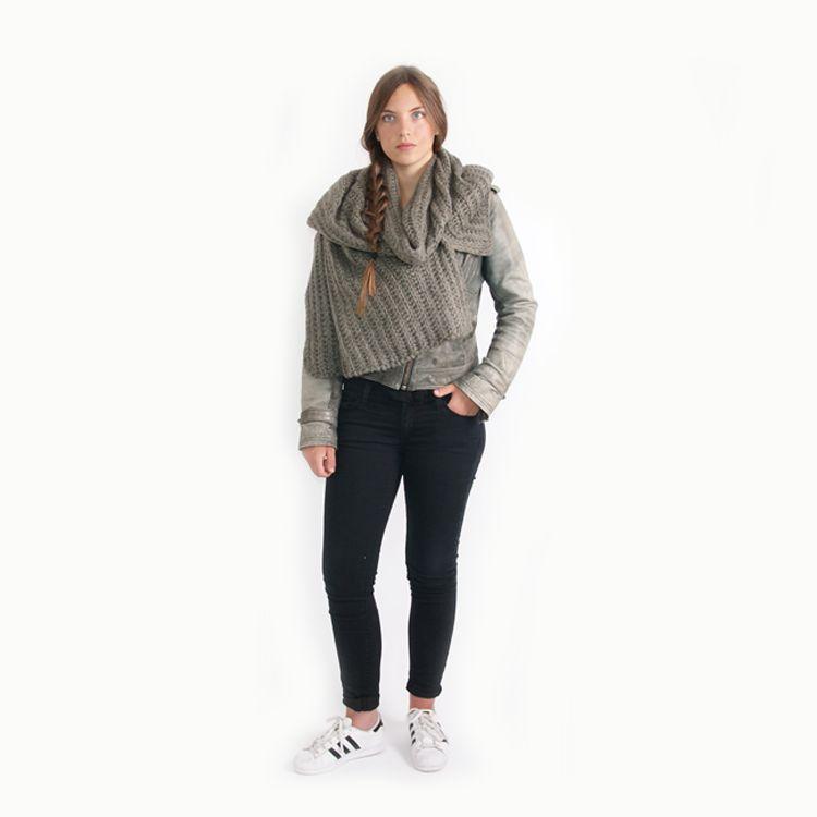 Zusss Sjaal XL gebreide col/omslag 50x210cm, groen