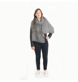 Zusss Sjaal XL gebreide col grijs
